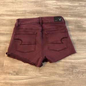 American Eagle Outfitters Maroon Distressed Shorts